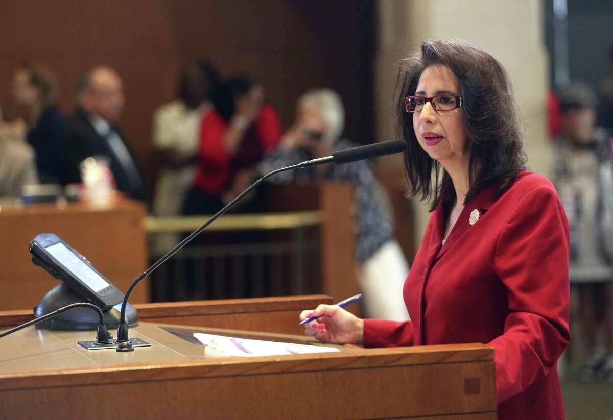 """San Antonio City Clerk Leticia Vacek gives a briefing to the City Council earlier this year. She plays a city clerk in indie film """"Texas Cotton."""""""
