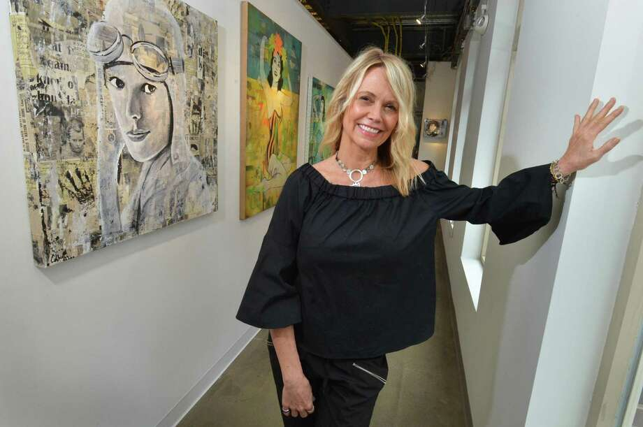 Artist Cabell Molina on Wednesday May 16, 2018 with her solo show of mixed media at the Sidewalk Gallery in Norwalk Conn. The show runs until July 1st Photo: Alex Von Kleydorff / Hearst Connecticut Media / Norwalk Hour
