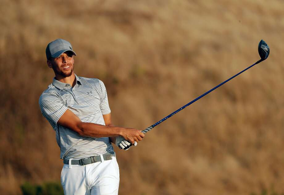36673e0be153 Stephen Curry drives on the 17th hole during the second round of the Ellie  Mae Classic