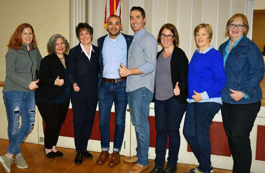 Raghib Allie-Brennan, fourth from the left, earned the endorsement of local Democrats in his race to represent the State House 2nd District. Photo: / Contributed Photo