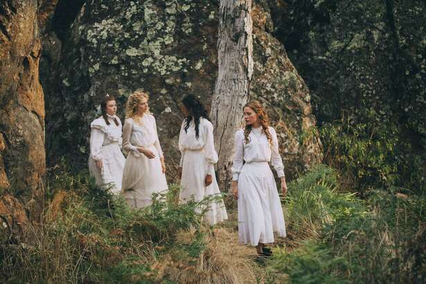 """The girls at the heart of the mystery in """"Picnic at Hanging Rock"""" -- from right,Miranda (Lily Sullivan), Irma (Samara Weaving) and Marion (Madeleine Madden) -- in Amazon Prime's new six-part adaptation of the Australian novel."""