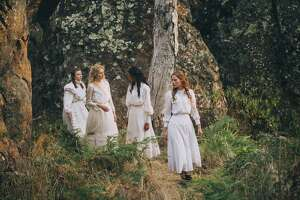 "The girls at the heart of the mystery in ""Picnic at Hanging Rock""  -- from right,  Miranda (Lily Sullivan), Irma (Samara Weaving) and Marion (Madeleine Madden) -- in Amazon Prime's new six-part adaptation of the Australian novel."