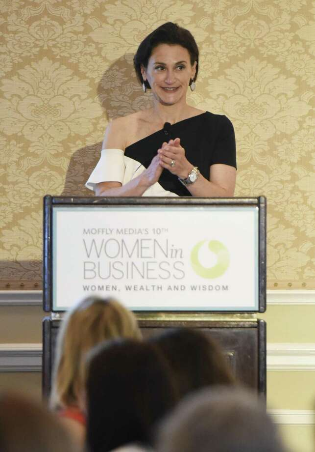 Carolina Herrera President Emilie Rubinfeld delivers the keynote presentation at the Moffly Media Women in Business Luncheon at Greenwich Country Club in Greenwich, Conn. Wednesday, May 16, 2018. Now in its tenth year, the luncheon provided interactive sponsor sessions and networking opportunities for local businesswomen before the presentation of awards for Corporate Leader Honoree, Entrepeneurs of the Year, and Women's Business Advocate and keynote by Carolina Herrera President Eilie Rubinfeld. Photo: Tyler Sizemore / Hearst Connecticut Media / Greenwich Time