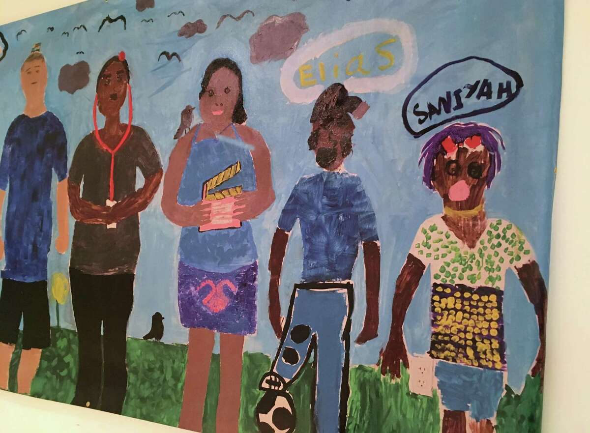 """The Drew Friedman Community Arts Center foundation celebrates its first art show Thursday, May 17, 2018, at the Westport Womans Club. The show, """"HeARTS Open Wide,"""" features work by local artists from several nonprofits, including Homes with Hope. This mural was created by young people served by that organization. The art show reception runs from 5 to 8 p.m., Thursday, May 17, 2018."""