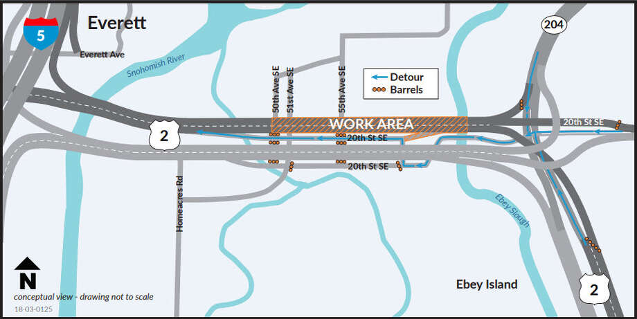 This map shows where WSDOT plans to close U.S. 2 to repair the Hewitt Ave. Trestle. Traffic is likely to be backed up in the area all weekend. Photo: WSDOT