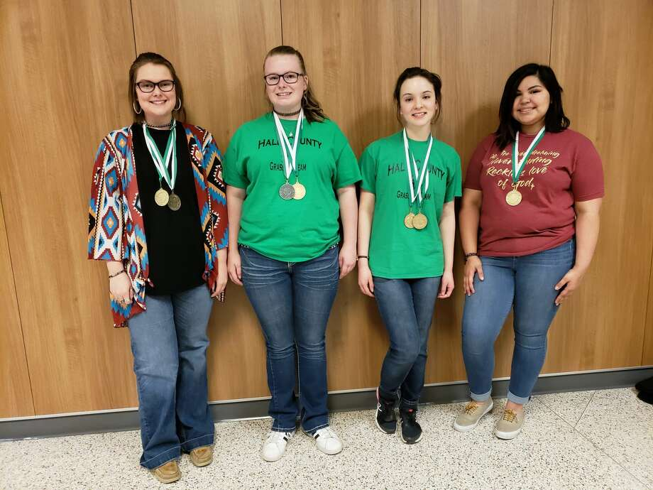 Hale County 4-H Senior Grass ID Team took first place in the district contest. Team members include Emily White (left), third High Point Individual; Camrie Looney, second High Point Individual; DeLynn Gary, first High Point Individual; and Desiree DeLeon. Photo: Beverly Wall/Courtesy Photo