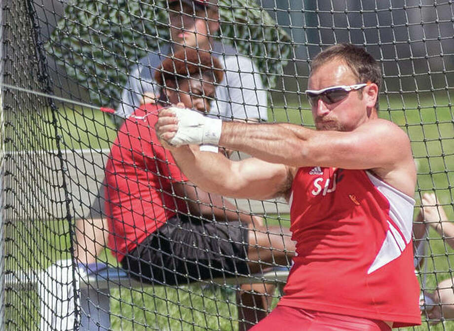 SIUE's Nick Matthews, the 2018 OVC outdoor hammer throw champion, is one of five Cougars who will take part in the NCAA West Preliminaries in Sacramento, California, May 24-26. Photo:       SIUE Athletics