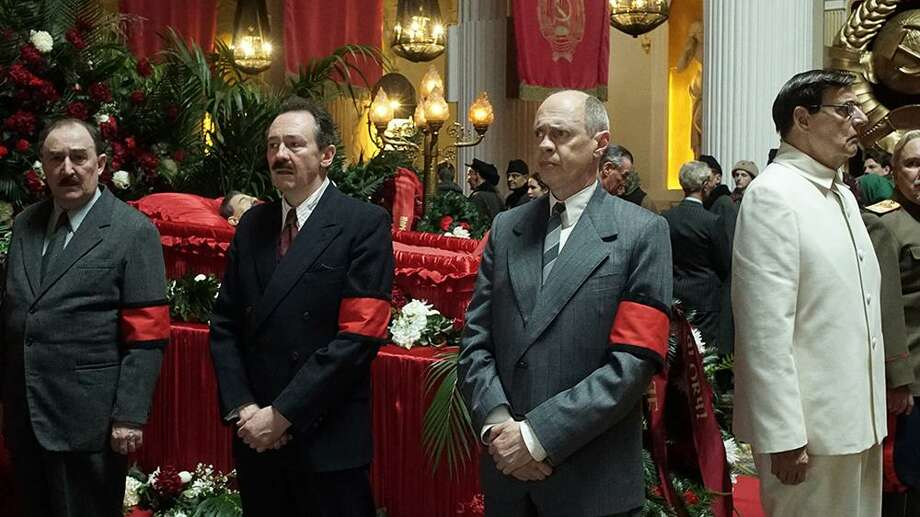"""Dermot Crowley (left), Paul Whitehouse, Steve Buscemi and Jeffrey Tambor in """"The Death of Stalin."""" Photo: Quad Productions"""