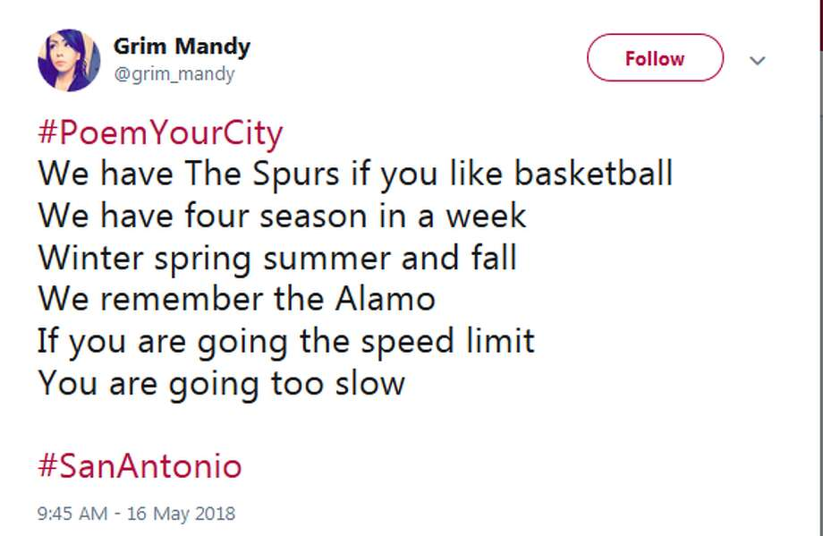 The Twitter hashtag #PoemYourCity opened the stage for San Antonians to flex their poetry skills in honor of their hometowns. Photo: Twitter.com Screengrabs