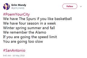 The Twitter hashtag #PoemYourCity opened the stage for San Antonians to flex their poetry skills in honor of their hometowns.