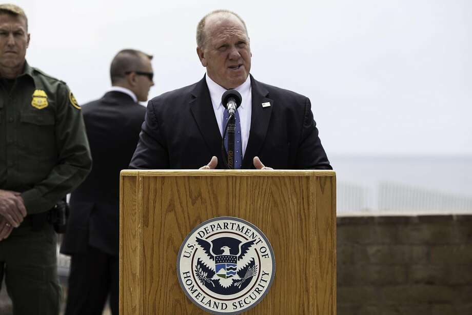 Thomas Homan, deputy director of U.S. Immigration & Customs Enforcement (ICE), speaks during a press conference with Jeff Sessions, U.S. attorney general, not pictured, regarding immigration policy in San Diego, California, U.S., on Monday, May 7, 2018. Photo: Ariana Drehsler / Bloomberg