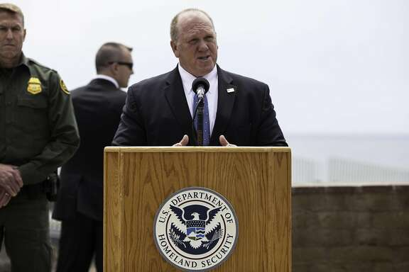 Tom Homan, deputy director of U.S. Immigration & Customs Enforcement (ICE), speaks during a press conference with Jeff Sessions, U.S. attorney general, not pictured, regarding immigration policy in San Diego, California, U.S., on Monday, May 7, 2018. President Donald Trump renewed a threat to close down the federal government when current funding runs out in September if immigration reforms and funding for a wall on the U.S. border with Mexico aren't forthcoming. Photographer: Ariana Drehsler/Bloomberg