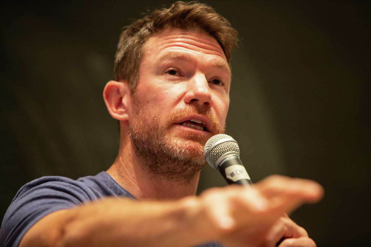 Nate Boyer talks on a panel about sports, race and protest on the campus of Rice University Wednesday April 11, 2018 (Michael Starghill, Jr.)