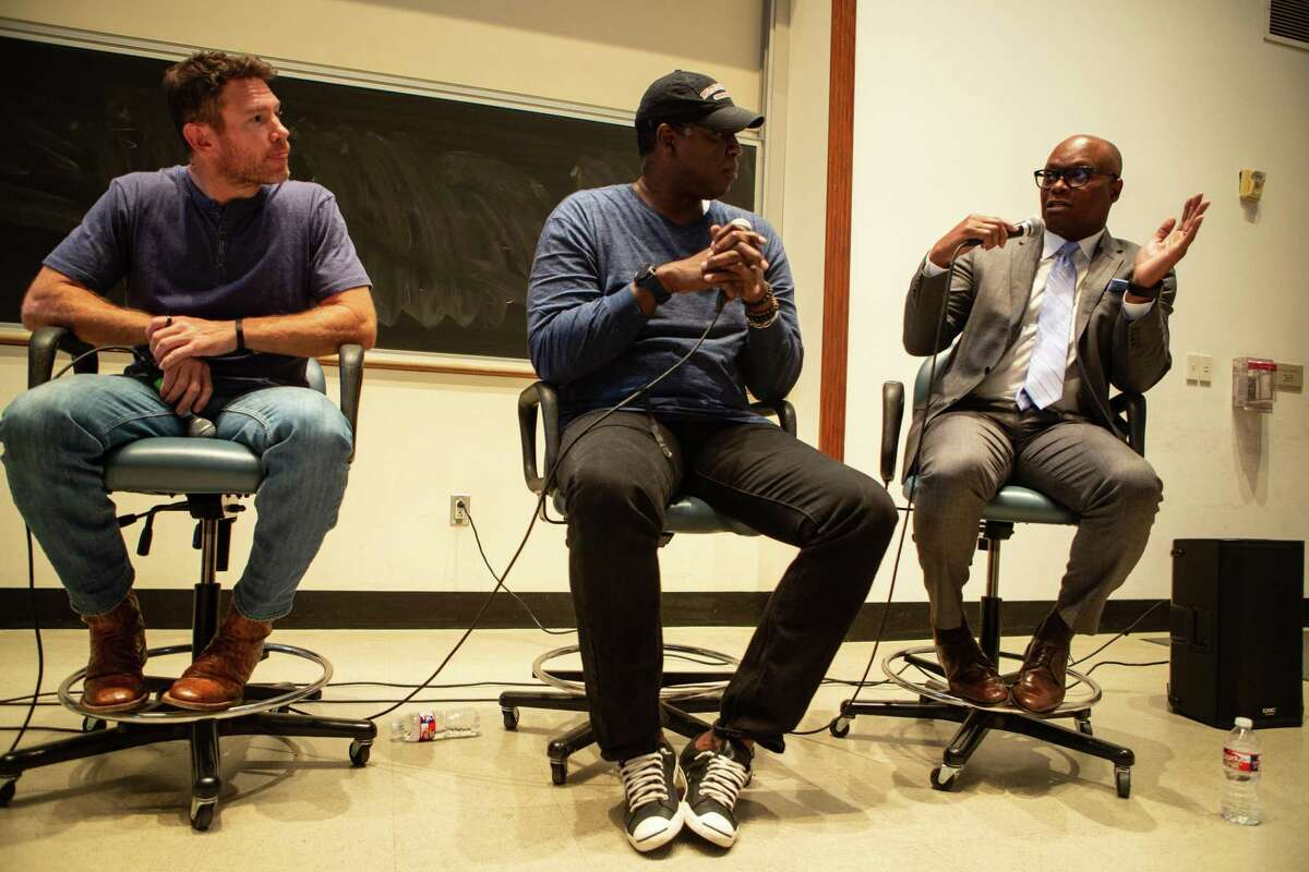 Nate Boyer, Sean Jones and former Dallas police chief David Brown talk on a panel about sports, race and protest on the campus of Rice University Wednesday April 11, 2018 (Michael Starghill, Jr.)