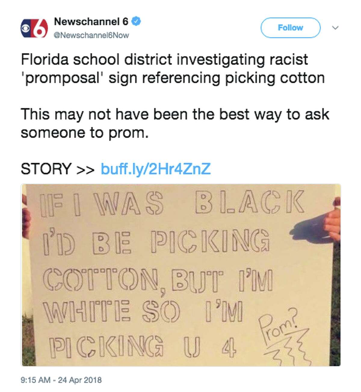 A Florida student was seen holding up a sign with a message asking another student to prom that said,