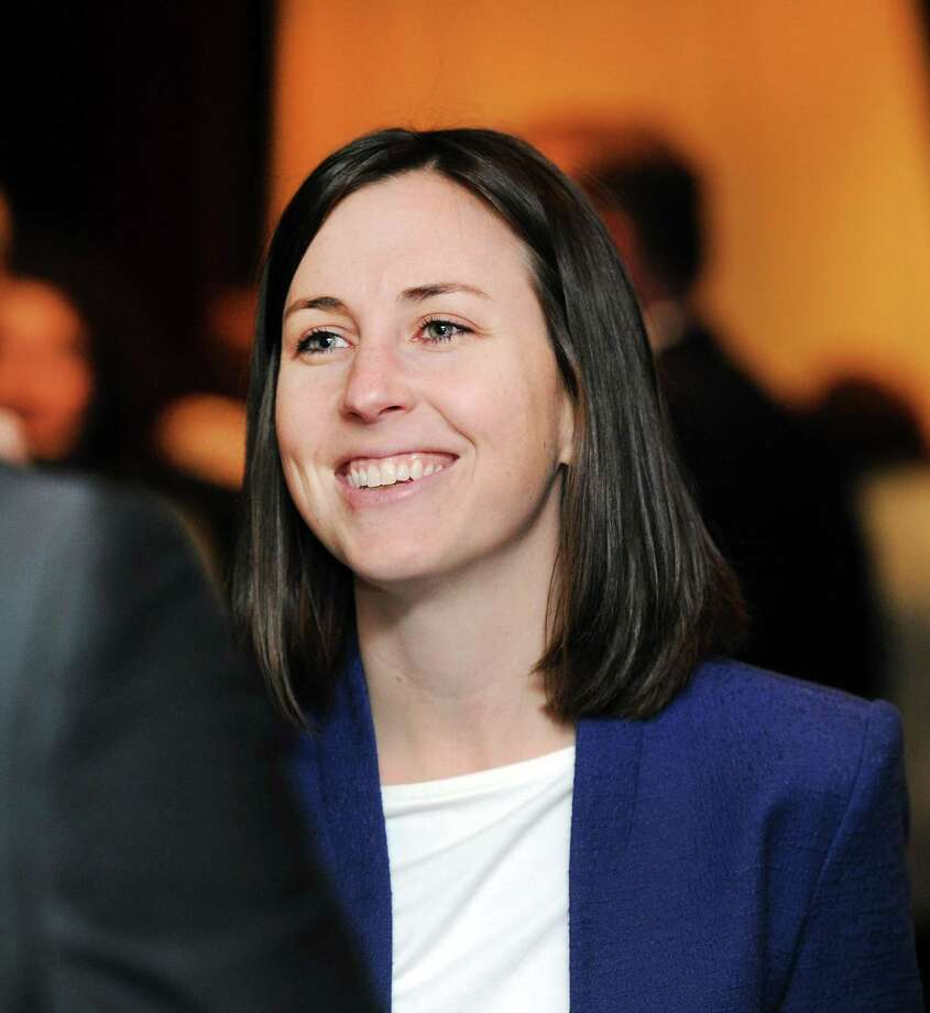First-time Democrat candidate for the Connecticut General Assembly, Ashley Gaudiano, running for the 134  Connecticut State House District seat, representing Fairfield and Trumbull, during a Women Belong in the CT House Democratic Fundraiser at Quattro Pazzi in Stamford, Conn., Wednesday, Jan. 31, 2018. Photo: Bob Luckey Jr. / Hearst Connecticut Media / Greenwich Time