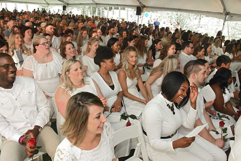 Students listen during Maria College's traditional white tea ceremony where nursing graduates get their pins at Maria College on Thursday, May 17, 2018 in Albany, N.Y. (Lori Van Buren/Times Union)