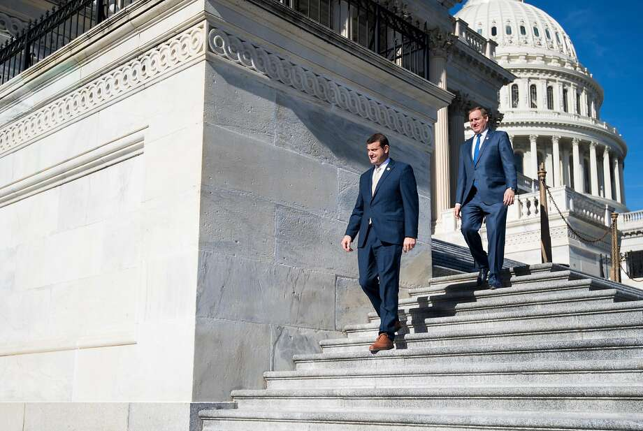 Reps. David Valadao, R-Hanford (Kings County), and Jeff Denham, R-Turlock (Stanislaus County), leaders of the Republican rebellion in the House, are gaining momentum with their drive to file a discharge petition to force a vote on immigration bills. Photo: Bill Clark / CQ-Roll Call Inc.