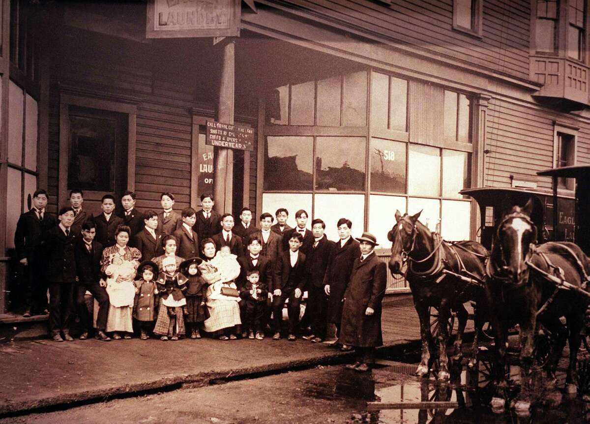 Eagle Laundry in Seattle's International District, circa 1906, operated by the Okamura family.