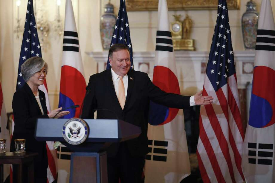 Mike Pompeo, U.S. secretary of state, and Kang Kyung-wha, the South Korean foreign minister, depart a news conference in Washington, D.C., earlier this month. A reader says Pompeo should have garnered more support among Democrats during his confirmation hearing. Photo: Aaron P. Bernstein /Bloomberg / © 2018 Bloomberg Finance LP