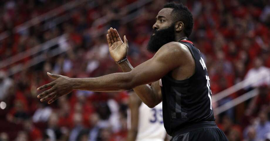 James Harden (13) reacts to not getting a foul call in the second half as the Golden State Warriors played by the Houston Rockets in Game 2 of the Western Conference Finals at Toyota Center in Houston, Texas, on Wednesday, May 16, 2018. The Rockets won 127-105. Photo: Carlos Avila Gonzalez/The Chronicle