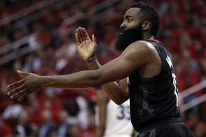 James Harden (13) reacts to not getting a foul call in the second half as the Golden State Warriors played by the Houston Rockets in Game 2 of the Western Conference Finals at Toyota Center in Houston, Texas, on Wednesday, May 16, 2018. The Rockets won 127-105.