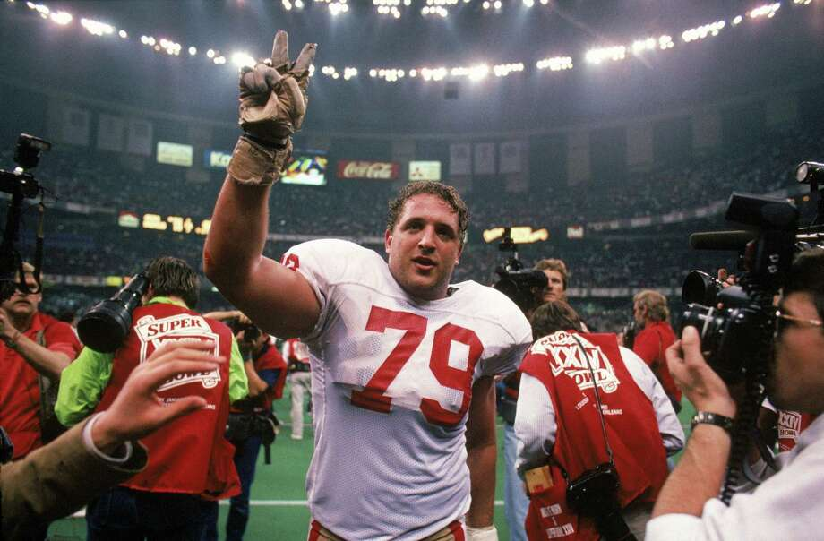 Tackle Harris Barton #79 of the San Francisco 49ers celebrates after the 49ers 55-10 win over the Denver Broncos in Super Bowl XXIV at Louisiana Superdome on January 28, 1990 in New Orleans, Louisiana. Photo: George Rose / Getty Images / 1990 Getty Images