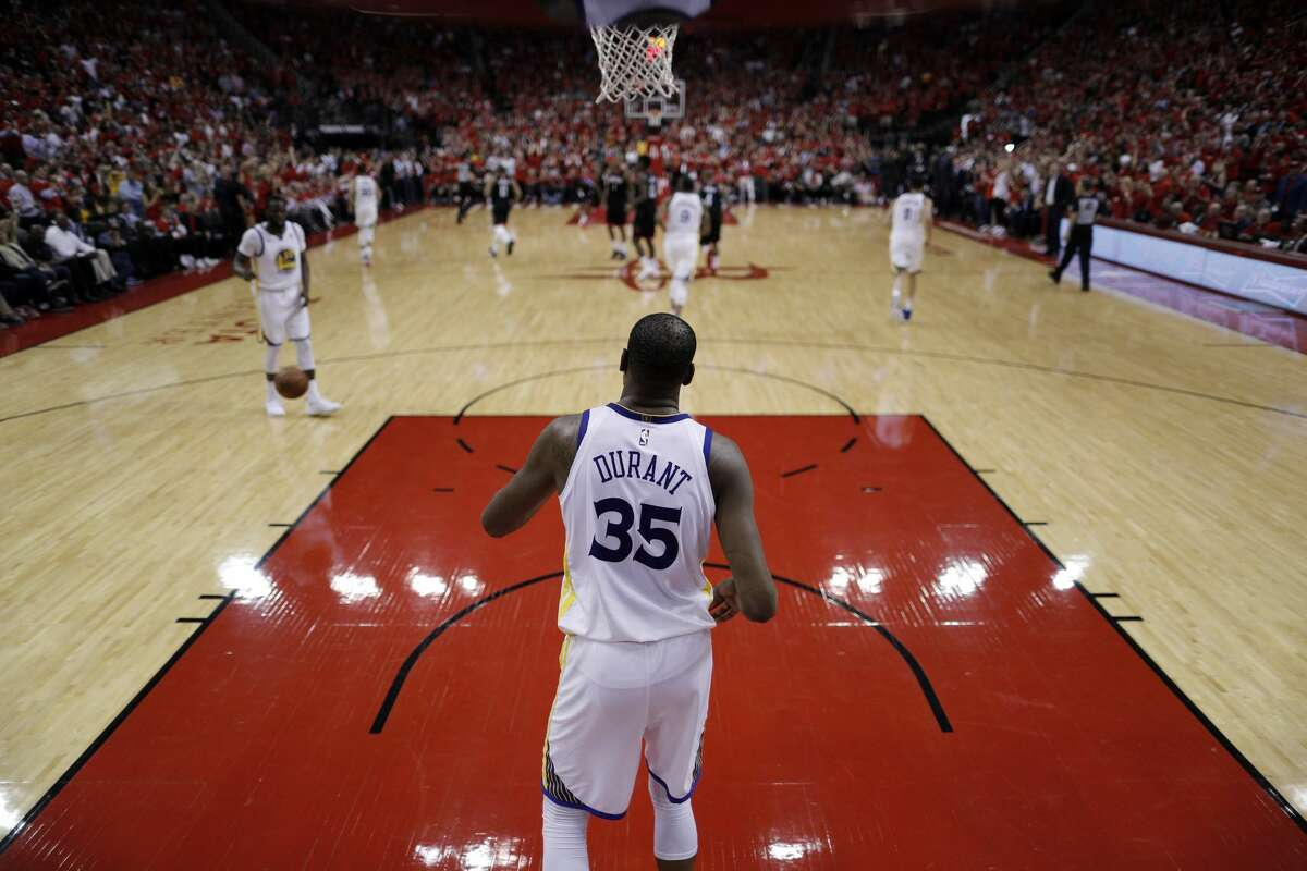 Kevin Durant (35) waits to inbound the ball after the Rockets scored in the second half as the Golden State Warriors played by the Houston Rockets in Game 2 of the Western Conference Finals at Toyota Center in Houston, Texas, on Wednesday, May 16, 2018. The Rockets won 127-105.