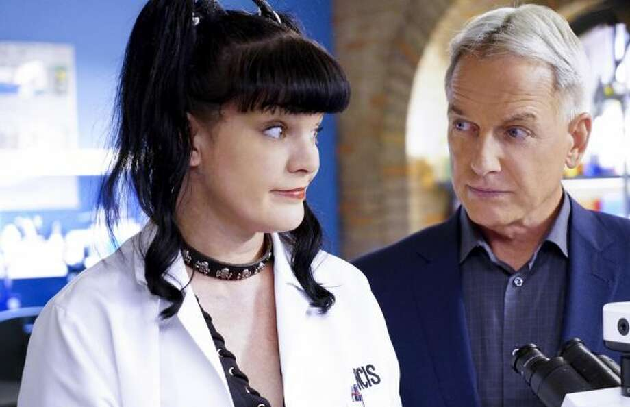 A scene from NCIS with Pauley Perrette and Mark Harmon.