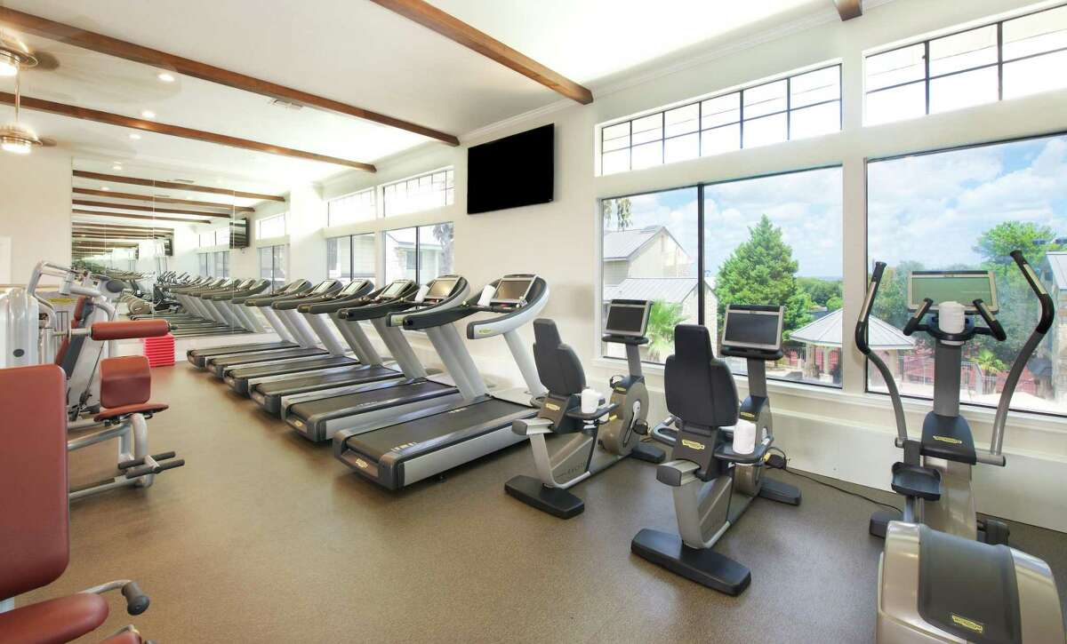 At the two-story fitness center at Horseshoe Bay Resort, you can borrow tennis rackets and spend time on one of the resort's many courts.