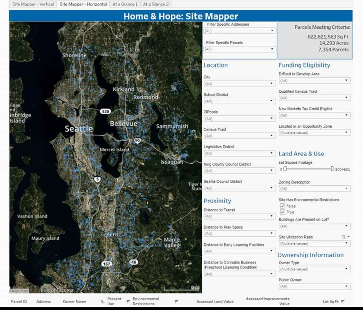 This screenshot shows the Home & Hope tool developed by Enterprise Community Partners to map all the public land in King County. Officials expect to use the tool to find publicly owned sites that could be developed into affordable housing.