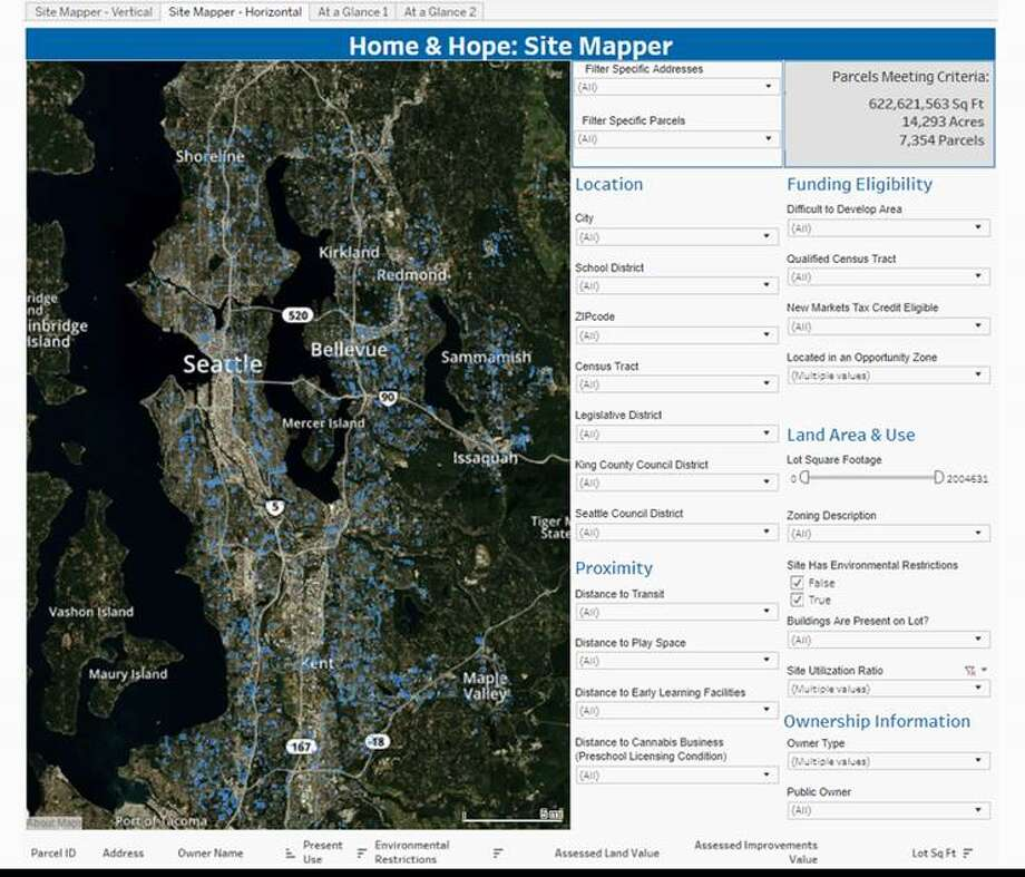 This screenshot shows the Home & Hope tool developed by Enterprise Community Partners to map all the public land in King County. Officials expect to use the tool to find publicly owned sites that could be developed into affordable housing. Photo: Courtesy Enterprise Community Development