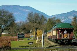 The Napa Valley Wine Train takes passengers to winery tasting rooms in Napa, California, in December 2017.