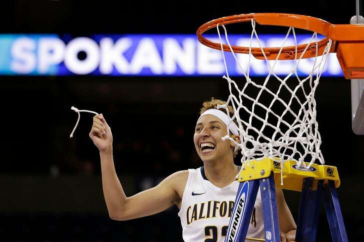 California's Layshia Clarendon holds up a piece of the net after her team beat Georgia  in overtime in a regional final in the NCAA women's college basketball tournament, Monday, April 1, 2013, in Spokane, Wash. Cal won 65-62. (AP Photo/Elaine Thompson)