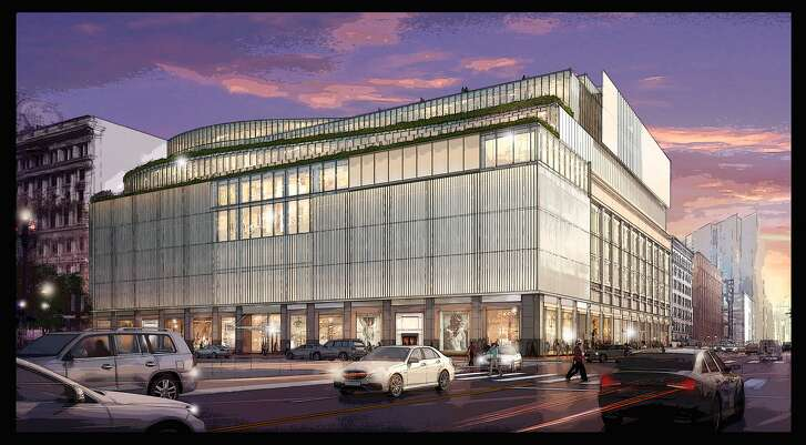 A rendering of the proposed new facade for Westfield San Francisco Centre at 5th and Market Streets.