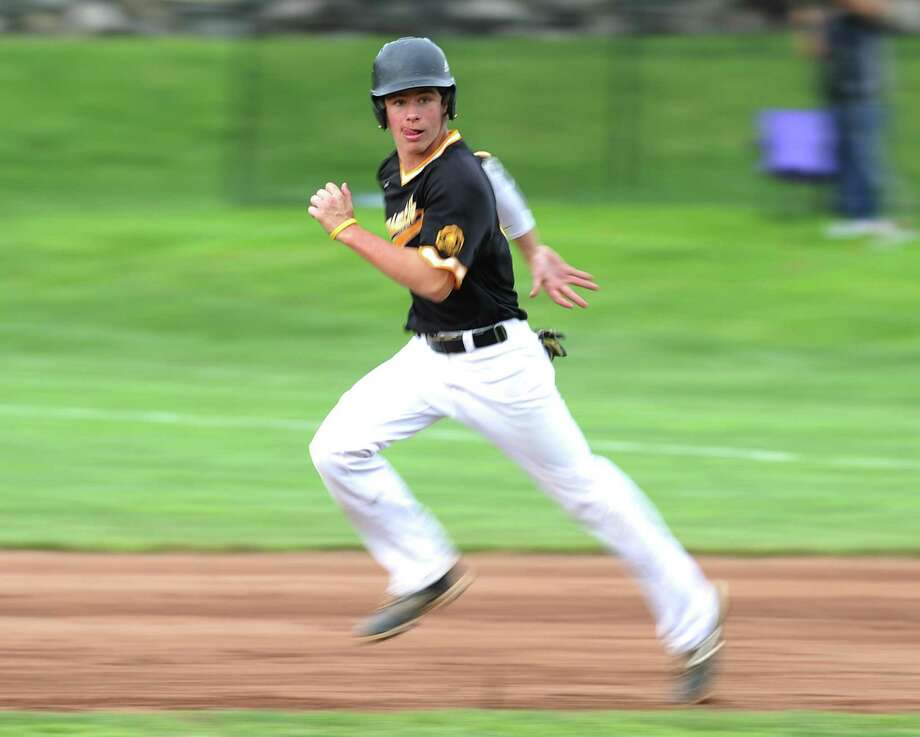 Brunswick's Marc McGuire steals second base in the FAA high school baseball semifinal tournament game between Brunswick and Rye Country Day School at Brunswick School in Greenwich, Conn. Thursday, May 17, 2018. Photo: Tyler Sizemore / Hearst Connecticut Media / Greenwich Time