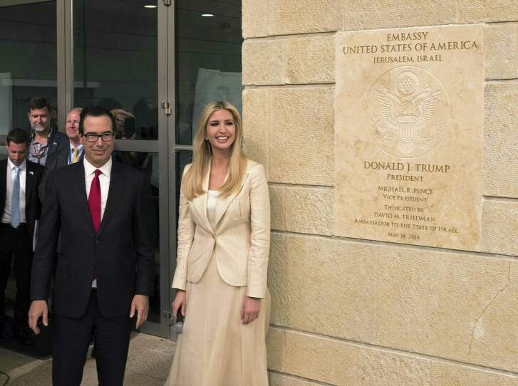 White House senior adviser Ivanka Trump and US Treasury Secretary Steven Mnuchin arrive to the opening of the U.S. embassy in Jerusalem on May 14, 2018 in Jerusalem, Israel. President Trump's administration officially transfered the ambassador's offices to the consulate building and temporarily use it as the new U.S. Embassy in Jerusalem. Trump in December last year recognized Jerusalem as Israel's capital and announced an embassy move from Tel Aviv, prompting protests in the occupied Palestinian territories and several Muslim-majority countries.