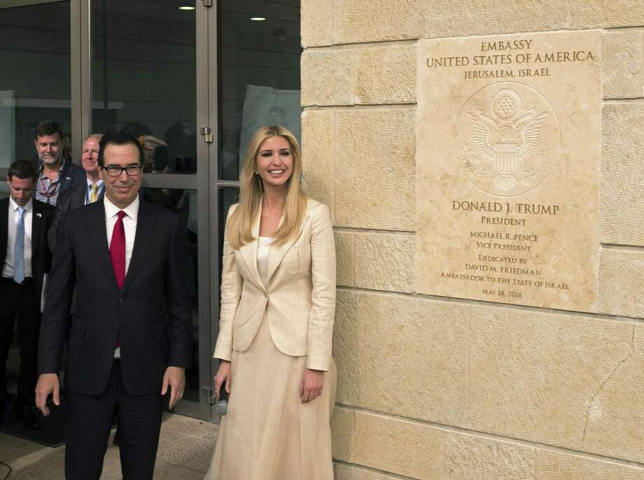 White House senior adviser Ivanka Trump and US Treasury Secretary Steven Mnuchin arrive to the opening of the U.S. embassy in Jerusalem on May 14, 2018 in Jerusalem, Israel. President Trump's administration officially transfered the ambassador's offices to the consulate building and temporarily use it as the new U.S. Embassy in Jerusalem. Trump in December last year recognized Jerusalem as Israel's capital and announced an embassy move from Tel Aviv, prompting protests in the occupied Palestinian territories and several Muslim-majority countries. Photo: Lior Mizrahi, Stringer / Getty Images / 2018 Getty Images