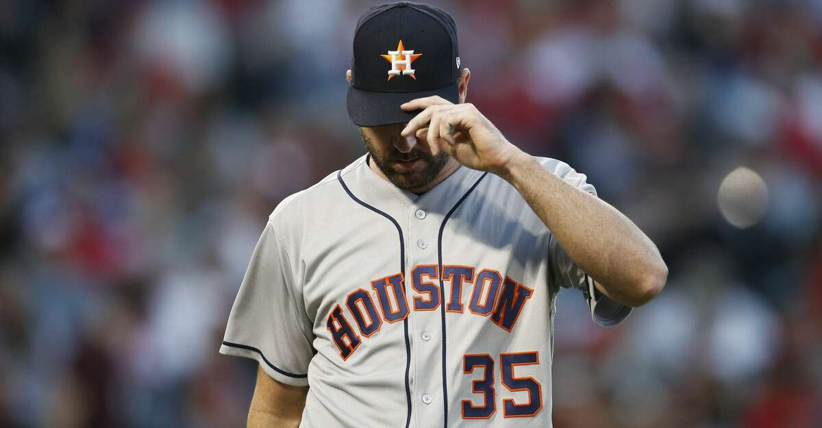 PHOTOS: Astros game-by-game Houston Astros starting pitcher Justin Verlander adjusts his hat as he walks toward the dugout after the third inning of the team's baseball game against the Los Angeles Angels on Wednesday, May 16, 2018, in Anaheim, Calif. (AP Photo/Jae C. Hong) Browse through the photos to see how the Astros have fared through each game this season.