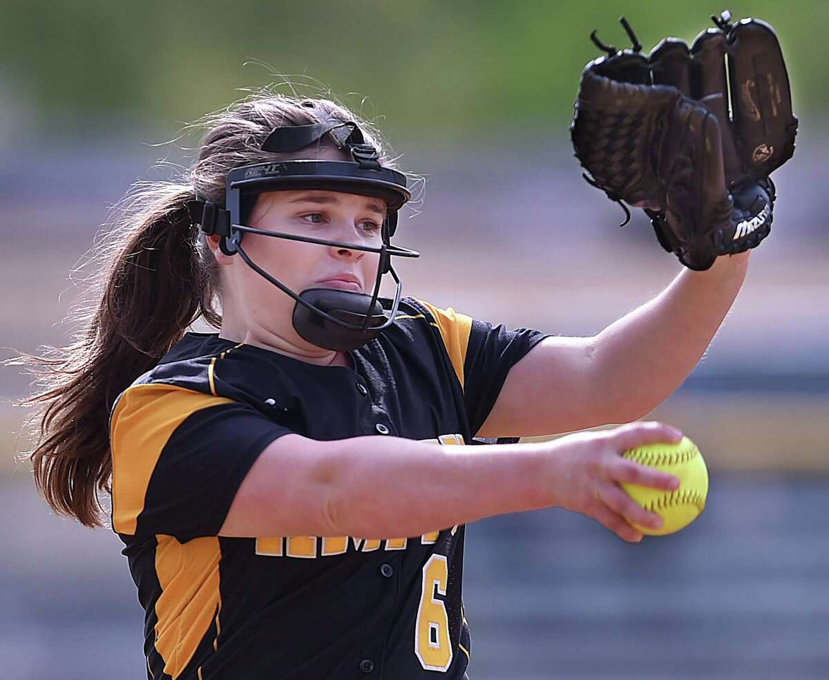 Amity hurler Grace Whitman delivers a pitch against North Haven on Thursday.