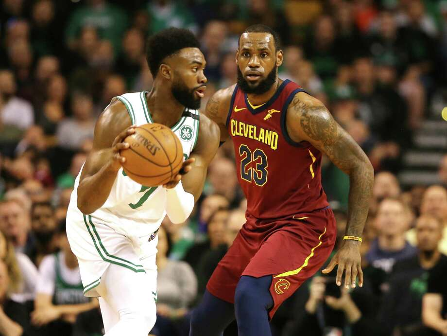 BOSTON, MA - MAY 13: LeBron James #23 of the Cleveland Cavaliers defends Jaylen Brown #7 of the Boston Celtics during the first quarter in Game One of the Eastern Conference Finals of the 2018 NBA Playoffs at TD Garden on May 13, 2018 in Boston, Massachusetts.  (Photo by Maddie Meyer/Getty Images) Photo: Maddie Meyer / 2018 Getty Images