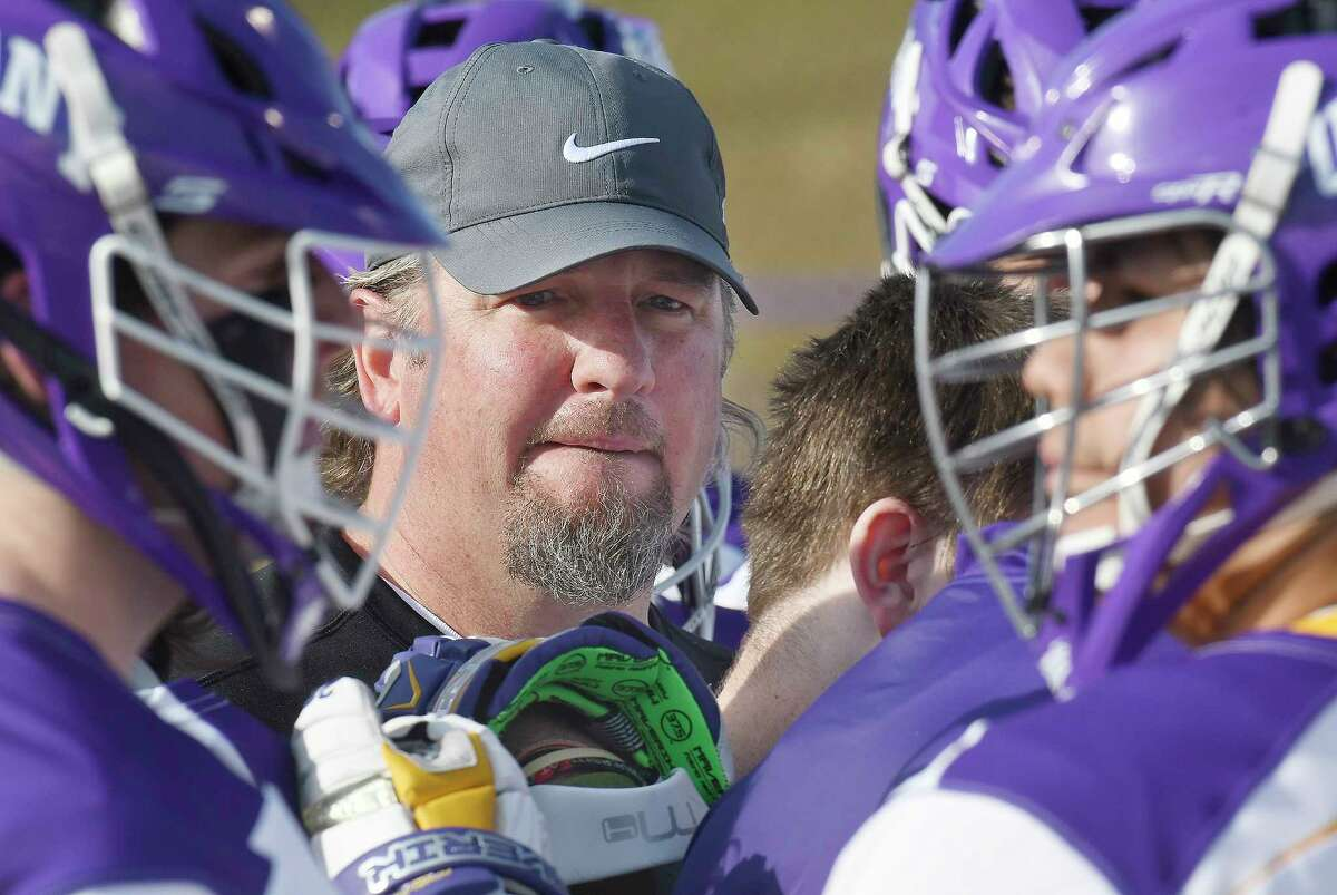 University at Albany head coach Scott Marr instructs his players against Stony Brook during a NCAA Division I college men's lacrosse game on Saturday, March 31, 2018, in Albany, N.Y. (Hans Pennink / Special to the Times Union)