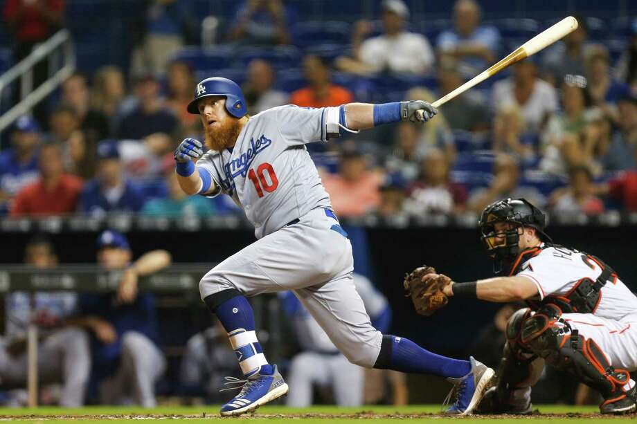 MIAMI, FL - MAY 17:  Justin Turner #10 of the Los Angeles Dodgers hits a two RBI double in the fourth inning against the Miami Marlins at Marlins Park on May 17, 2018 in Miami, Florida.  (Photo by Michael Reaves/Getty Images) Photo: Michael Reaves / 2018 Getty Images