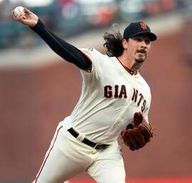 San Francisco Giants' Jeff Samardzija delivers in 1st inning against Colorado Rockies during MLB game at AT&T Park in San Francisco, CA on Thursday, May 17, 2018.