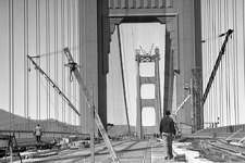 A photo of Golden Gate Bridge construction from the mid-1930s. A box of negatives was pulled from The Chronicle's archive and scanned recently. Some of the negatives were labeled November 1936.