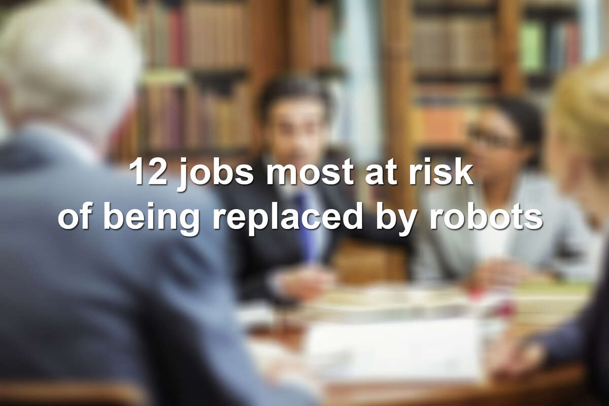 Click ahead to view the 12 jobs most at risk of being replaced by robots, according to a study from Oxford University.