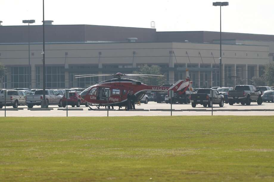 A medical helicopter lands at Santa Fe High School in Santa Fe, Texas on May 18, 2018. Officials confirmed shots had been fired at the campus. Photo: Steve Gonzales/Houston Chronicle