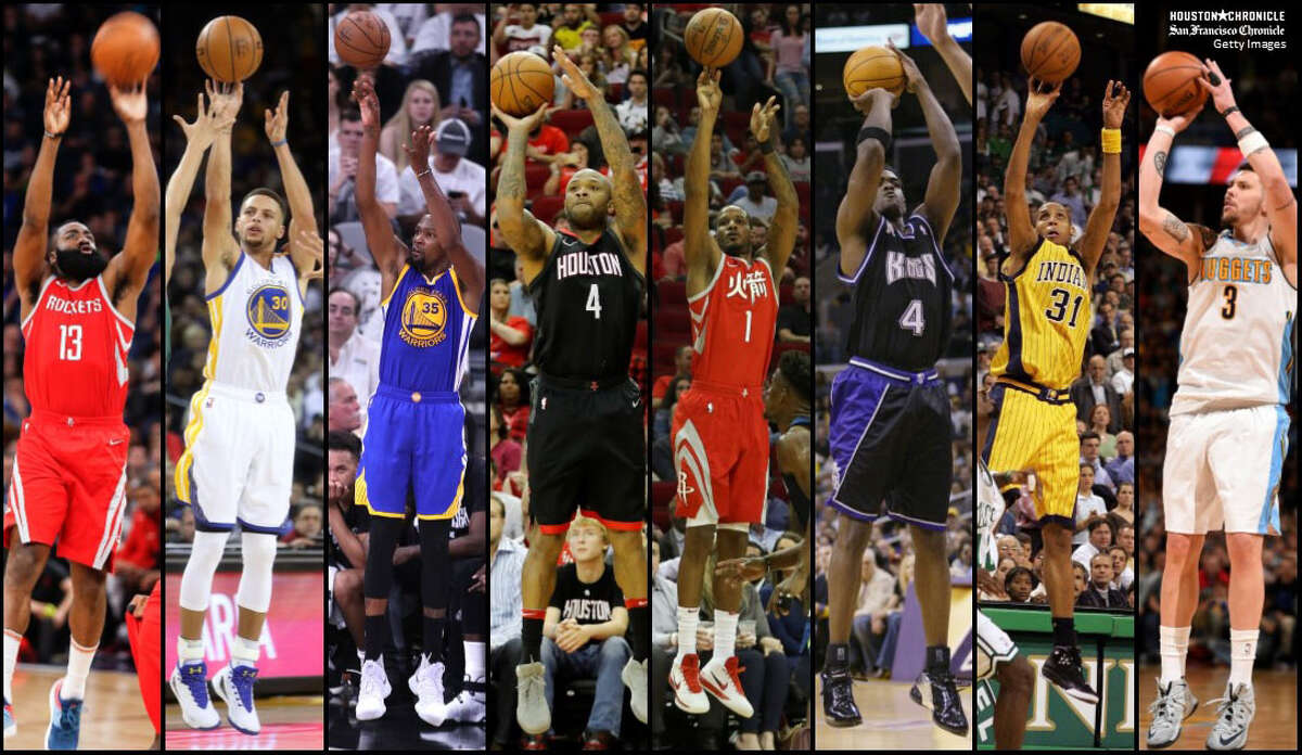 From left, James Harden, Stephen Curry, Kevin Durant, P.J. Tucker, Trevor Ariza and former players Chris Webber, Reggie Miller and Mike Miller have different shooting styles. Photos by Houston Chronicle (Michael Ciaglo/Yi-Chin Lee); San Francisco Chronicle (Scott Strazzante) and Getty Images.
