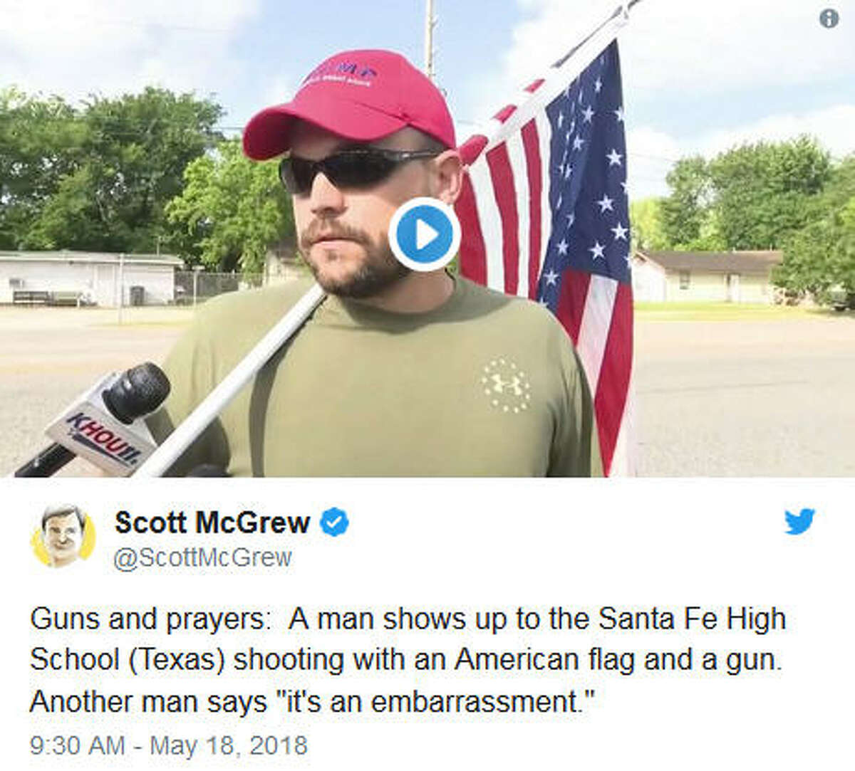 On Friday morning reporters from KHOU-TV spoke to a man near the scene of a deadly school shooting at Santa Fe High School, south of Houston, who arrived with a message. The man, wearing an army green T-shirt, also appeared to be open-carrying a handgun on his hip when he walked away from the news crews.