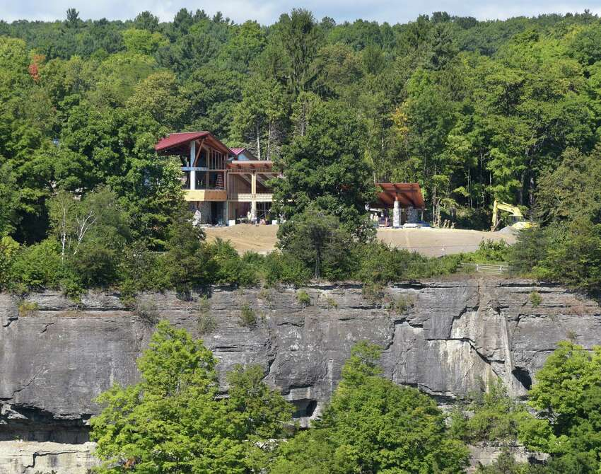 Work continues on the new 8,240-square-foot Thacher Park Visitor Center at the trailhead for the popular Indian Ladder Trail Wednesday Sept. 7, 2016 in New Scotland, NY. (John Carl D'Annibale / Times Union)